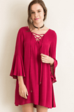 Lace up Bell Sleeve Dress - Wine Dresses- Tristin