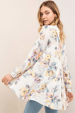 Floral Drop Waist Ruffle Button Down Shirt Jacket Tops- Tristin
