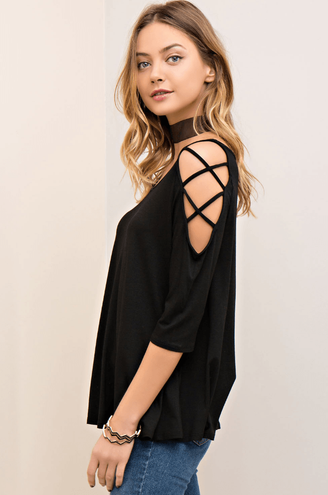 Not Your Average Criss Cross 3/4 Sleeve Top Tops- Tristin