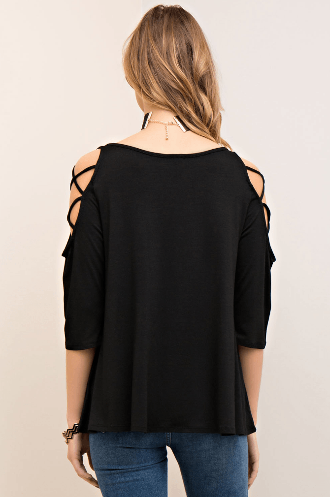Not Your Average Criss Cross 3/4 Sleeve Top
