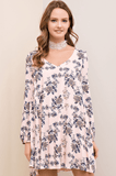Long Sleeve Floral Shift Dress Dresses- Tristin