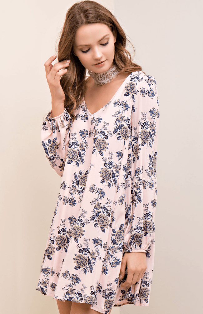 a6168f8b5033 ... Long Sleeve Floral Shift Dress Dresses- Tristin ...