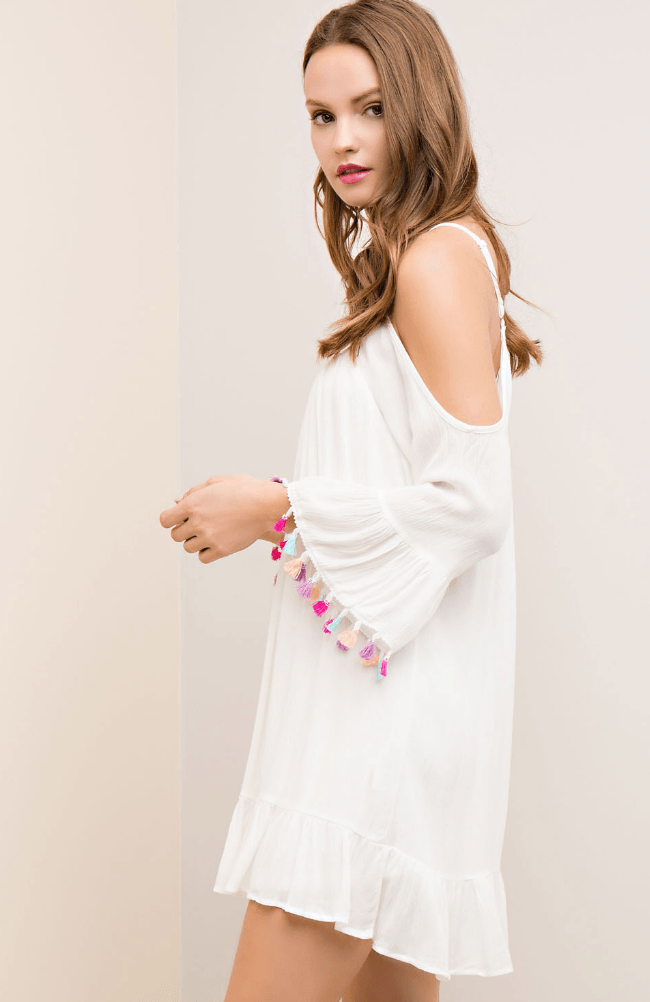 White Bell Sleeve Dress with Pom Pom Tassels Dresses- Tristin