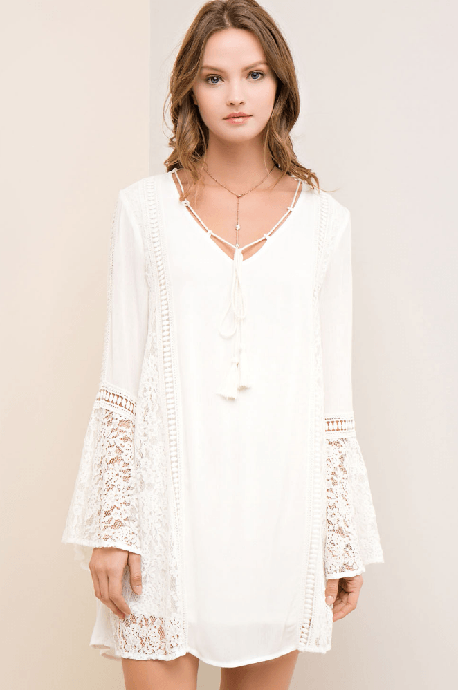 Wedding Belles White Lace Bell Sleeve Shift Dress Dresses- Tristin