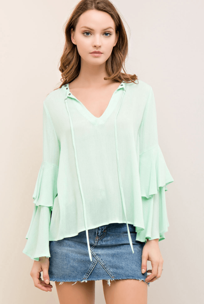 Fresh Like Mint Tie Bell Sleeve Top Tops- Tristin