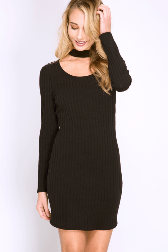 Ribbed Choker Bodycon Dress Dresses- Tristin
