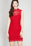 Mock Neck Red Lace Bodycon Dress Dresses- Tristin