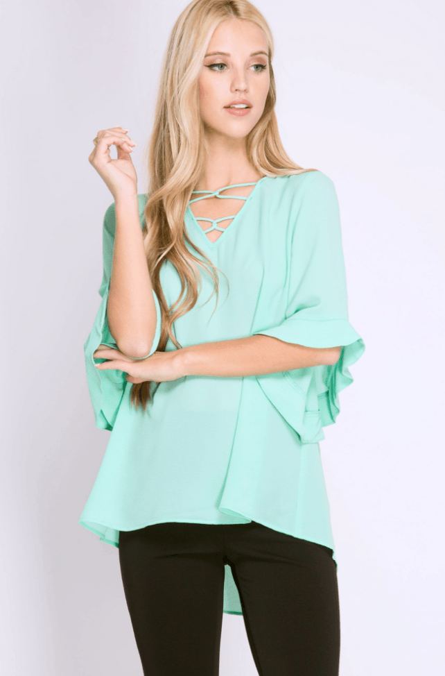 Criss Cross Neck Half Sleeve Ruffle Top Tops- Tristin