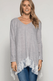Long Sleeve Asymmetrical Lace Hem Top Tops- Tristin