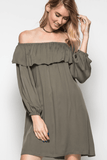 Off the Shoulder Ruffle Tunic Dress - OLIVE Dresses- Tristin