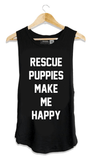 Rescue Puppies Make Me Happy Tank - Black Tops- Tristin