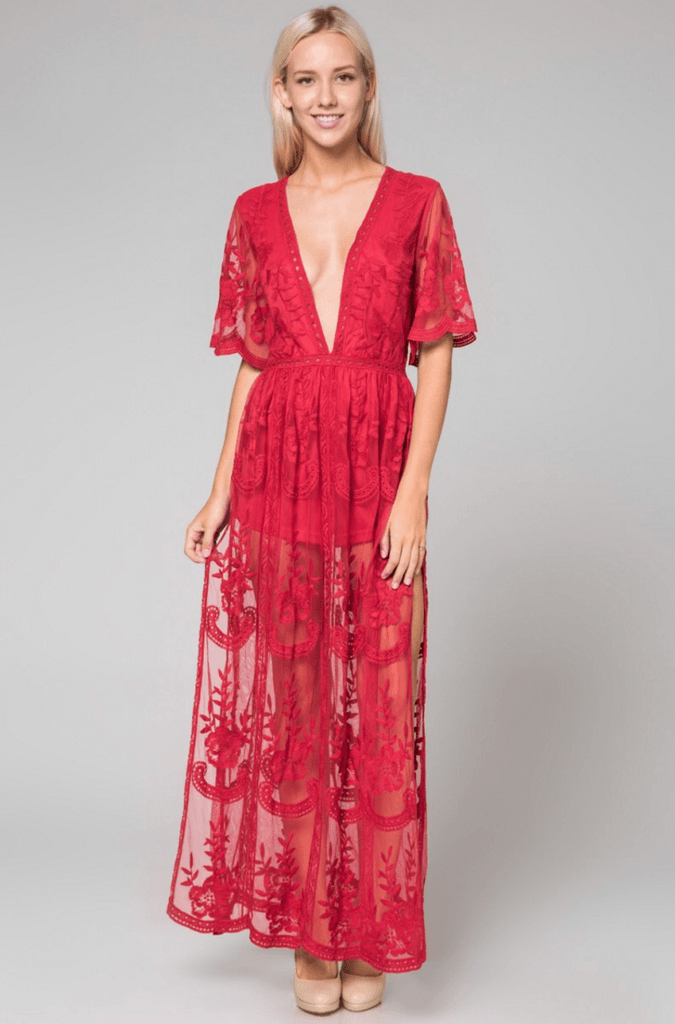 Deep V Crochet Lace Maxi Romper - Red Dresses- Tristin