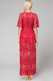 Deep V Crochet Lace Maxi Romper - Red