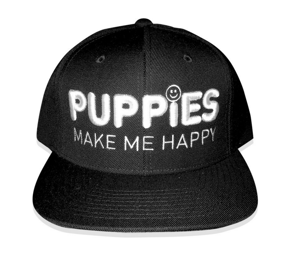 Puppies Make Me Happy 3D Puff Flat Bill  Hat