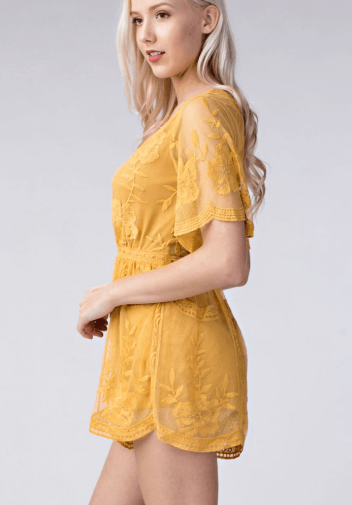 Deep V Crochet Lace Romper - Yellow