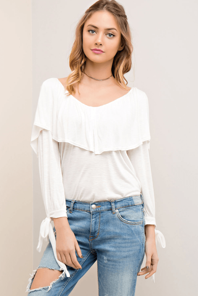 White Ruffle Top with Back Detail and Tie Sleeves Tops- Tristin