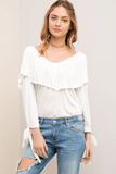 White Ruffle Top with Back Detail and Tie Sleeves