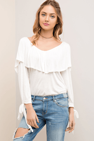 Kristin Striped Cold Shoulder Top - Mustard