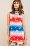 V Neck Cut Out Red, White and Blue Tye Dye with Stars Top Tops- Tristin