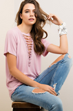 Deep V Laced Up Tee in Dusty Rose Tops- Tristin