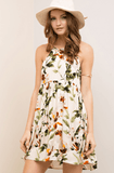 Floral High Neck Halter Babydoll Dress - Ivory Dresses- Tristin