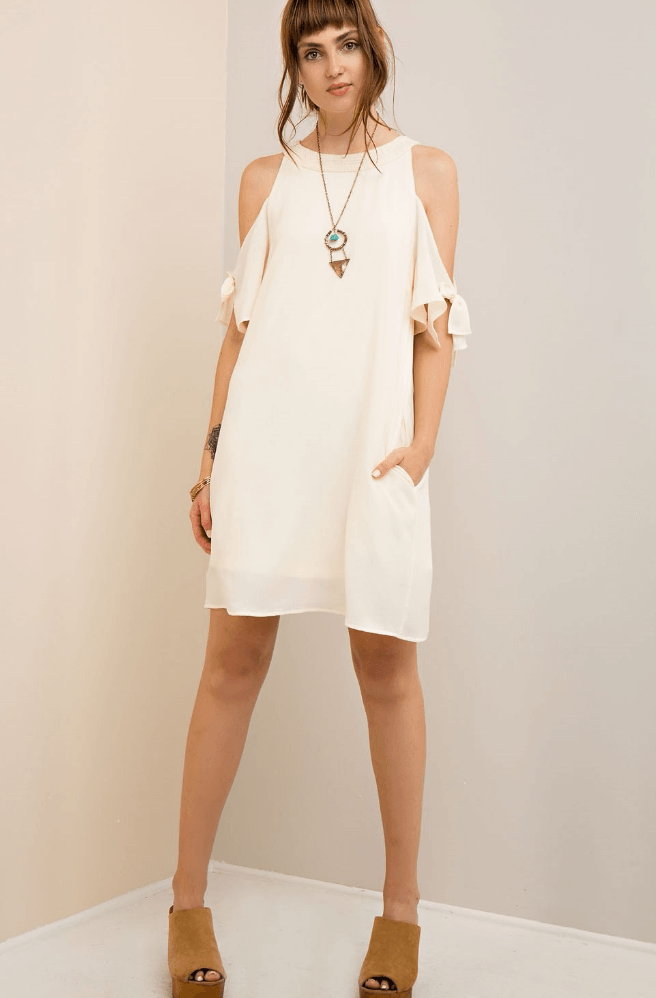 Cold Shoulder Tie Sleeve Off White Dress with Pockets