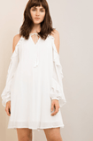 Cold Shoulder Long Ruffle Sleeve Tie Top Chiffon White Dress Dresses- Tristin