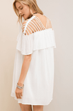Ruffle Top Dress is Open Shoulder Strappy Detail in White Dresses- Tristin