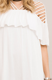 Ruffle Top Dress is Open Shoulder Strappy Detail in White