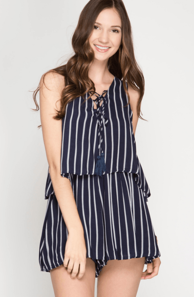Striped Lace-Up Nautical Romper Navy