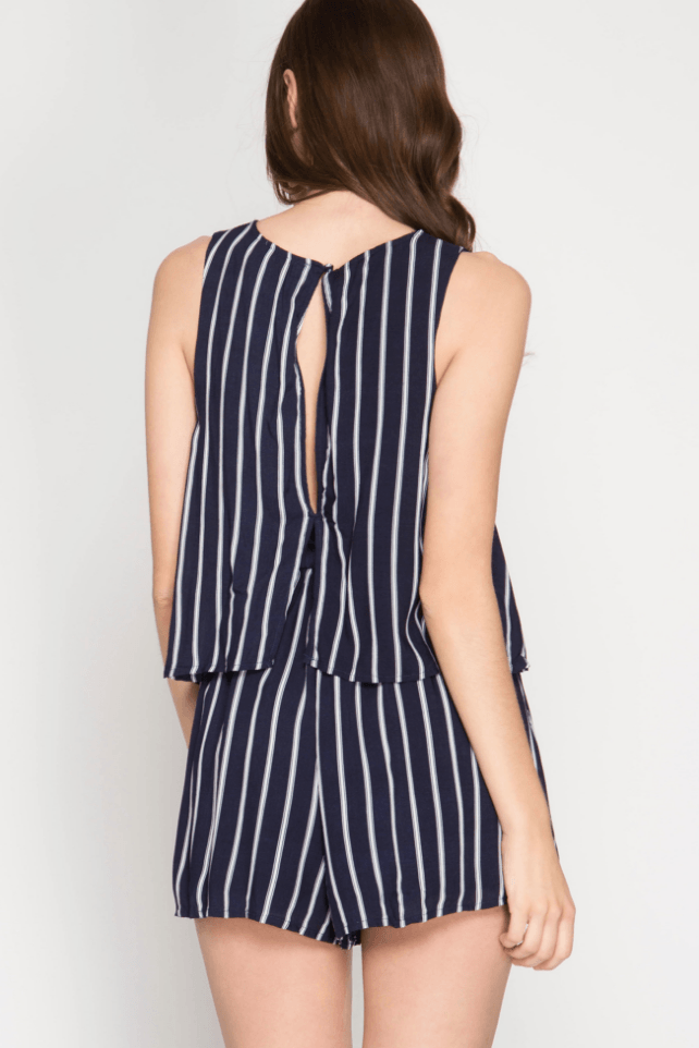 Striped Lace-Up Nautical Romper Navy Romper- Tristin