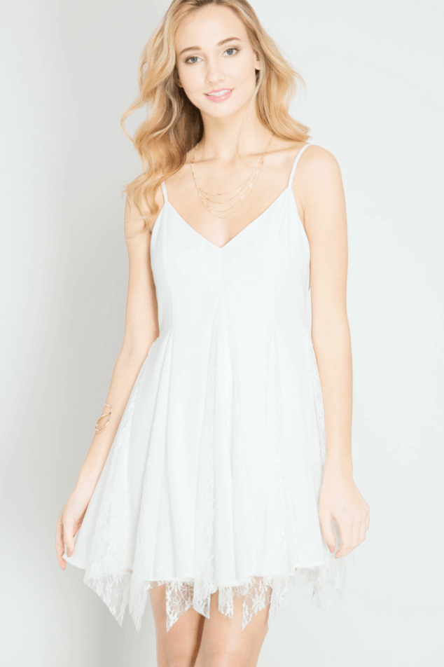 White Lace Slip Dress Dresses- Tristin
