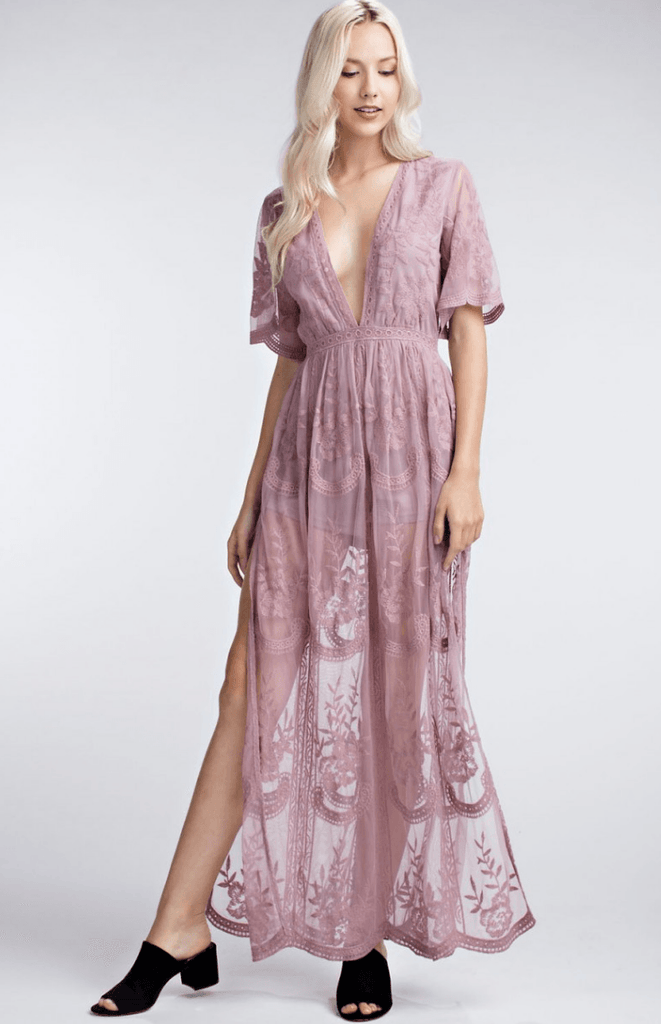 Copy of Deep V Crochet Lace Maxi Romper - MAUVE