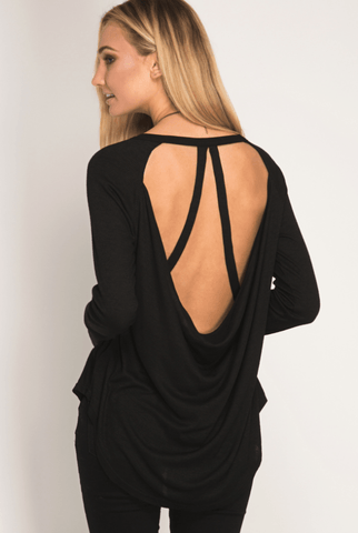 Cold Shoulder Thermal Waffle Top - Charcoal