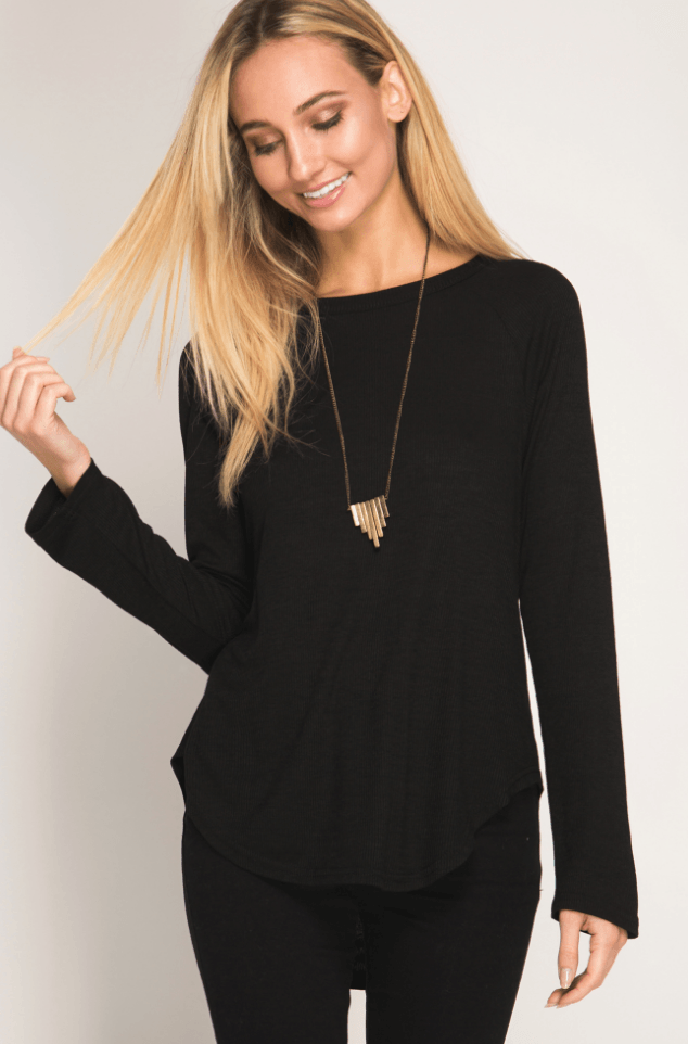 Long Sleeve Tee with Strappy Open Back in Black