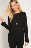 Long Sleeve Tee with Strappy Open Back in Black Tops- Tristin