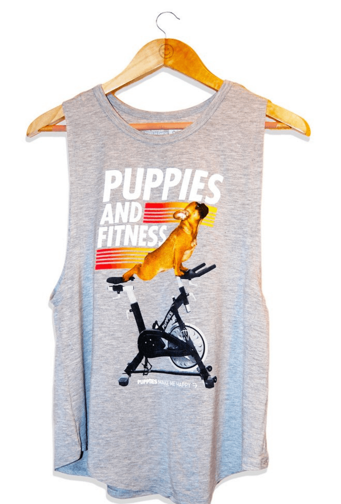 Puppies and Fitness Tank - Grey