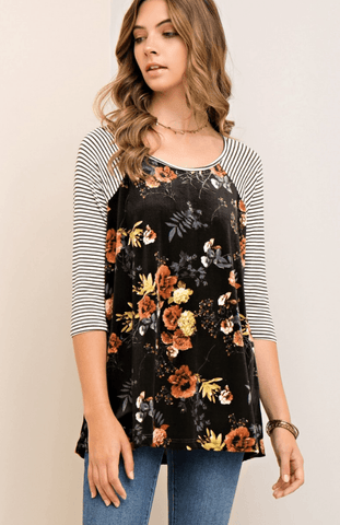 Floral High Neck Halter Babydoll Dress - Navy