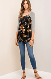 Pattern Mix Floral and Stripe Raglan Knit and Velvet Top Tops- Tristin