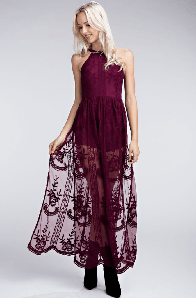 a5be39621db Burgundy Romper Maxi Dress with Embroidered Lace at ShopTristin.com ...