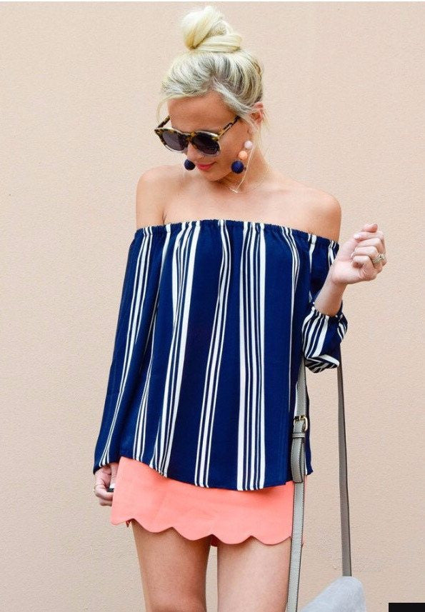Nautical Dreaming Off the Shoulder Top Tops- Tristin