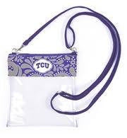 Texas Christian University Clear Crossbody Bag - Stadium Approved Accessories- Tristin