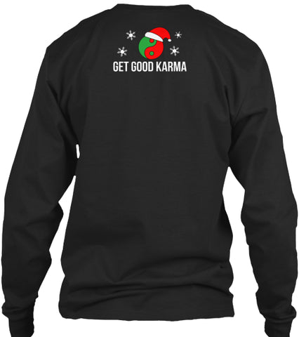 Dancing Black Santa Claus-Long Sleeve-Black-Front-Get Good Karma Store