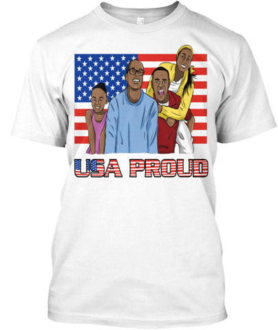 African American USA Proud-T-Shirt-by Get Good Karma-(white-t-shirt-front)