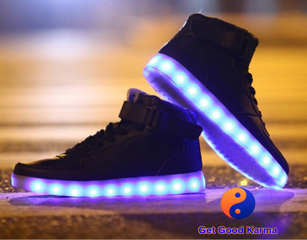 Black High Top LED Light Up Sneaker Shoes