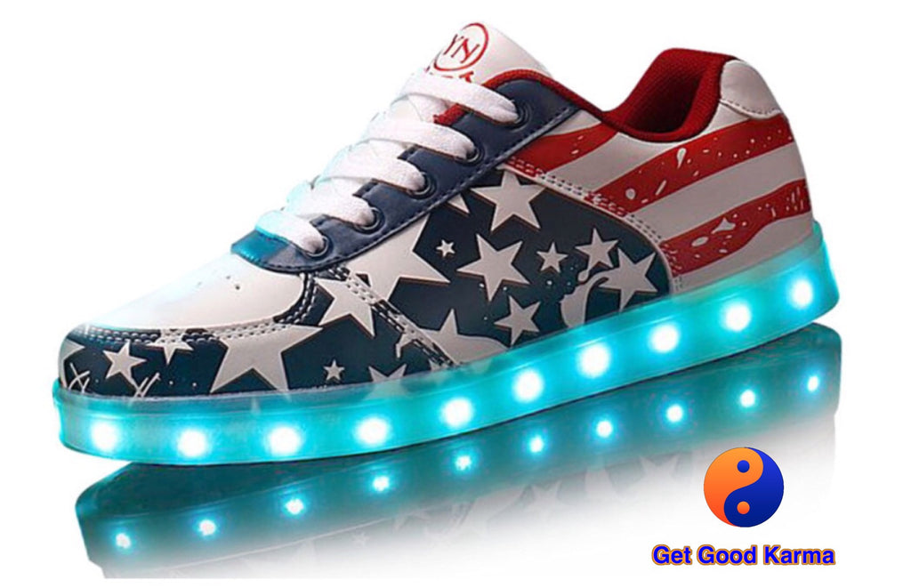USA Flag Star Design LED Light Up Sneaker Shoes