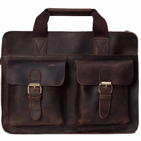 Handcrafted Vintage Style Genuine Leather Mens Briefcase, Messenger Bag, Laptop Bag - itechitrek