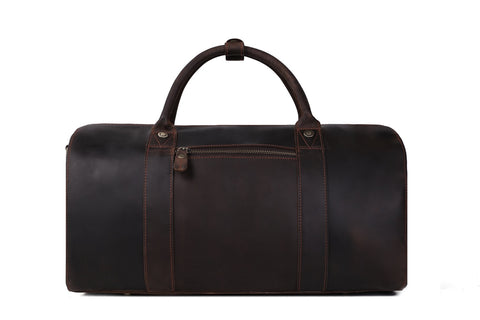 Vintage Style Genuine Natural Leather Travel Bag, Duffle Bag, Weekender Bag - itechitrek