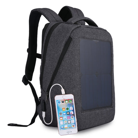 SOLAR CHARGED -  Solar Power External USB charging Laptop Backpack