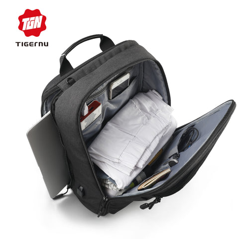 STAIN RESISTANT - Water resistant Laptop Backpack with USB external charging port anti-theft zipper